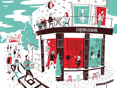 Esquina do Djalma Menu Cover Illustration streets character fun mcm midcentury modern illustration