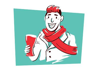 Esquina do Djalma Character 1 beer fun mcm midcentury modern character illustration