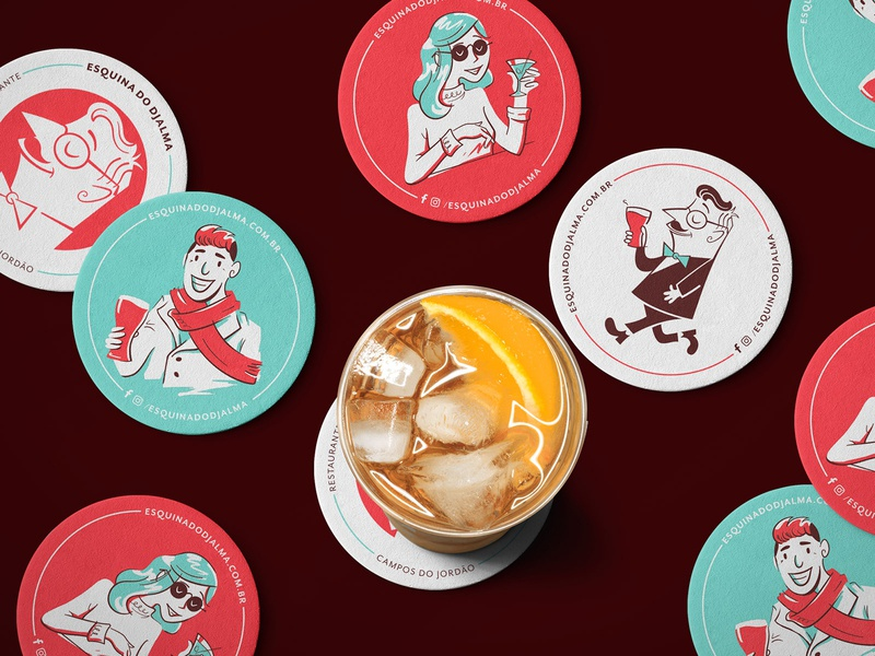 Esquina do Djalma Beer Coasters mcm midcentury modern character illustration branding drink restaurant bar beer coasters coaster