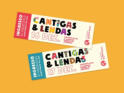 Cantigas & Lendas play tickets illustration theater ticket colorful playful vector identity logo type
