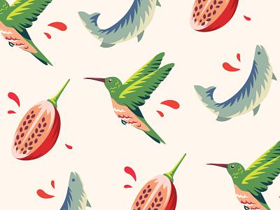 Illustrations for Dona Chica restaurant food bird restaurant 2d fish tamarillo hummingbird nature vector branding identity illustration