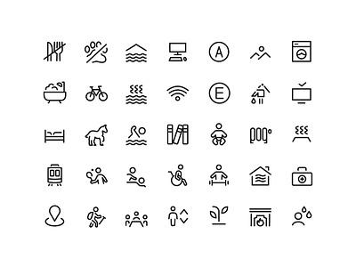 Hotel Icon Set for Guia Castelfranchi vector illustration hotel icon magazine design system icons icon set