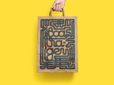 Paper Bag Type Illustration, for SP-50 Beer Pub paper bag identity bar beer pub restaurant highway branding illustration type typography handbag