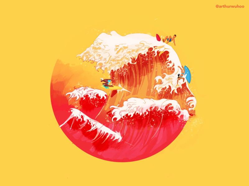Inktober: Flowing flowing inktober gradient hokusai surfer surf surfing waves illustration
