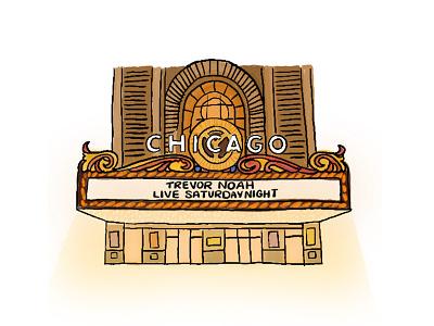 Trevor Noah at the Chicago Theatre! design travel show comedy live event line work chicago theatre illustration