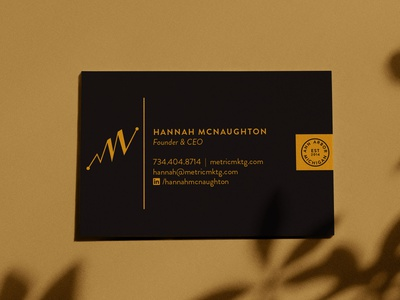 Metric Marketing Business Card Deisgn business card typography identity design logo branding metrics marketing collateral marketing agency throwback