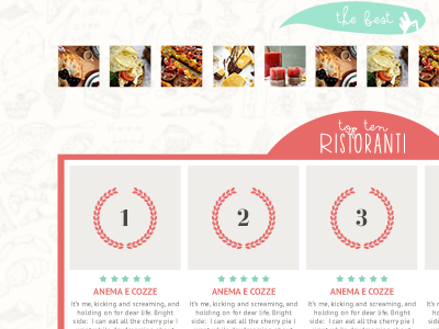 Polletto home page icon set food recipes ribbon frame vintage flat handwritten laurel winner reviews