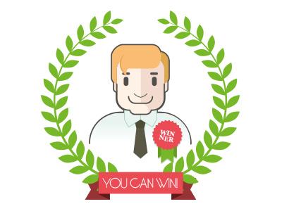 Illustration winner win prize laurel badge ribbon man office