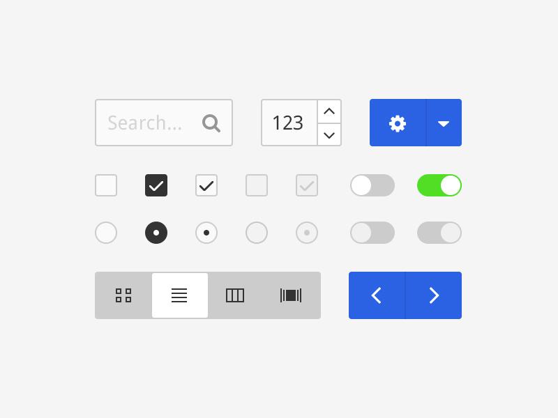 Simple UI Kit - Free flat ui ui kit search spinner switch tabs checkbox freebie free psd flat