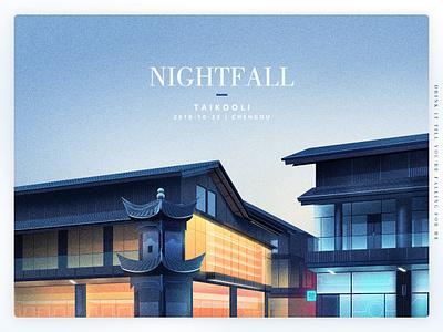 Nightfall frost descent pagoda winter fall night building illustration