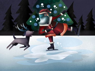 santa on ice affinity designer ipad holiday christmas tree illustration christmas