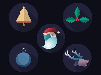 Holiday flat icons holiday illustration vector christmas icons