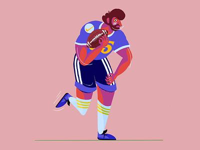 Football Illustration. offense playoffs game superbowl sports football player football illustration