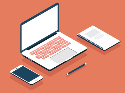 Isometric Icons - Laptop, phone, pencil and booklet corporate office icons office phone icon laptop icon technology phone laptop icons icon isometric icons isometric