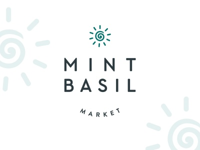 Logo for organic marketplace friendly minimalistic market emblem sun logo
