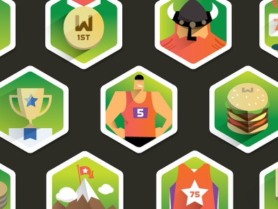 Edraft badges long shadow illustrations flat badges green sports burger mountain flag gold coin trophy