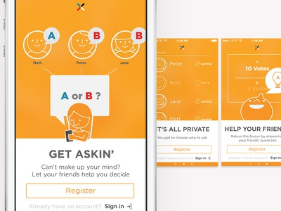 Votee Onboard illustrations  ios on board register tutorial illustration orange ios7 flat design votee vote