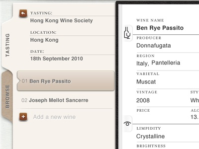 Winescribe ipad wine tasting note tab paper wine app ios