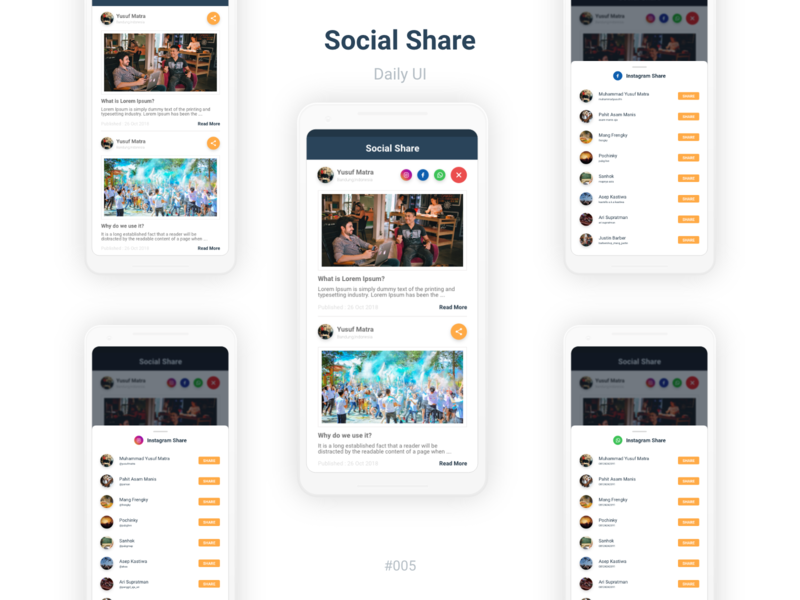 Social Share news app share buttons share button design mobile app design ux yusuf matra ui user experience mobile app android user interface share app