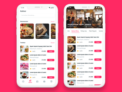 Mobile App Food Delivery User Interface