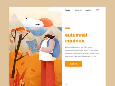 Autumnal 24 solar terms app web ui illustration