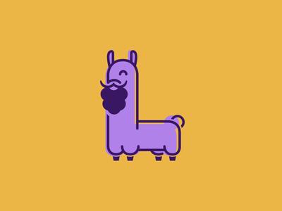 The Bearded Lama illustrator flat icon lama illustration