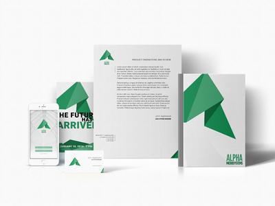 Alpha logo mockup branding graphic design illustration identity logo