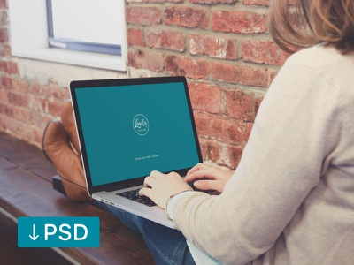FREE mockup template: Woman Sitting With Macbook On Her Knees macbook template psd photoshop photorealistic mock-up mockup high-resolution free download apple