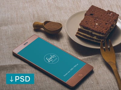 Smartphone And Cake On a Table (freebie) template psd photoshop photorealistic mock-up mockup android high-resolution free download
