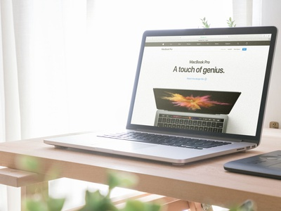 Macbook on Office Desk (FREEBIE) macbook workspace psd photoshop photorealistic mock-up mockup high-resolution free apple