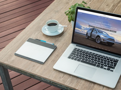 Macbook Next To A Fresh Morning Coffee (FREEBIE) apple free high-resolution mockup mock-up photorealistic photoshop psd workspace macbook