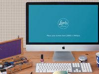 imac on office desk 1 - Apple iMac on office desk (FREEBIE)