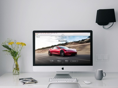 iMac On A White Table (FREEBIE) imac workspace psd photoshop photorealistic mock-up mockup high-resolution free apple