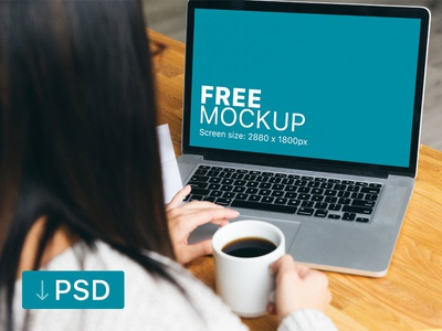 Free mockup: Woman Working on her Macbook While Drinking Coffee apple free high-resolution mockup mock-up photorealistic photoshop psd workspace macbook
