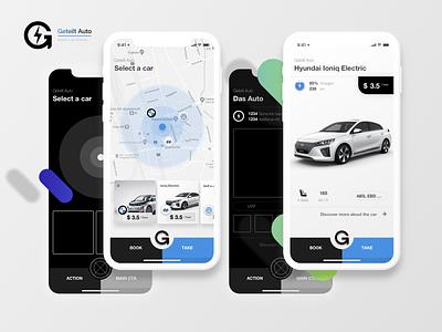 Electric Car Sharing App Concept minimal car rental map ux concept car sharing skecth ui app design car