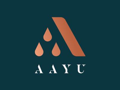 Aayu Logo water bottle brand identity logo