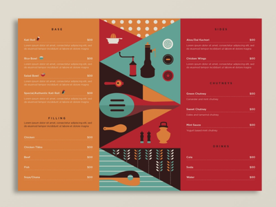 Spice n Soul - Food Menu sweden hyderabad identity logo colourful indian packaging menu food