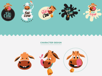 Character Design for Fat Cow Creamery milk fun identity popsicle fat character cow