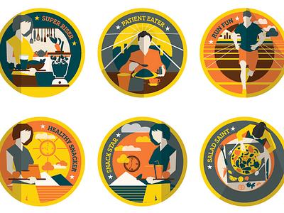 Badges for TruWeight App illustration mobile management weight badge app