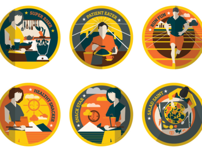 Badges for TruWeight App illustration mobile management weight badge app