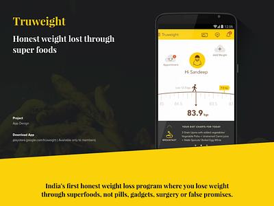 TruWeight App Design overweight yellow management weight app webpage