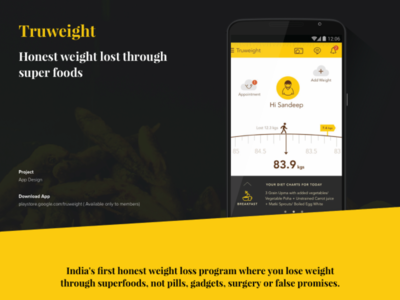 TruWeight App Design overweight yellow management weight app webpage