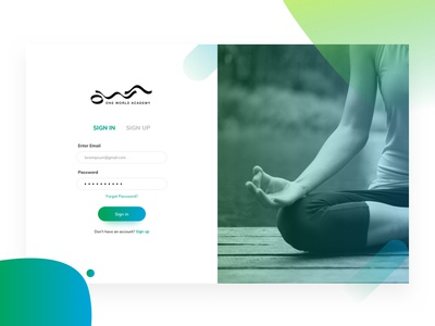 OWA onboarding ui training india yoga online academy login ui ux