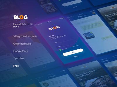 Blog UI Kit - Free Download design resources interface download blog ux ios freebie photoshop kit ui free app