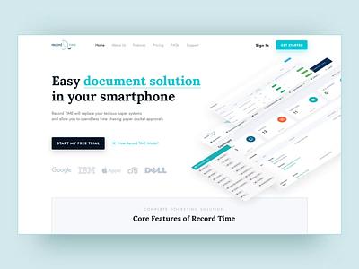Record Time app website. Homepage redesign saas website blue and white blue homepage saas ux ui web design uidesign minimal