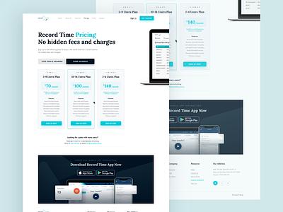 Record Time App Website   Pricing Page redesign website sketch saas pricing simple design ux web uidesign ui minimal