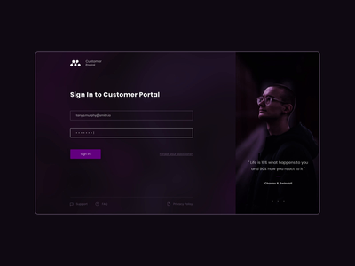 Sign In Page / Customer Portal page sign in purple simple landing page service manage support customer customer service ui ux uiux portal design web ux uidesign ui minimal