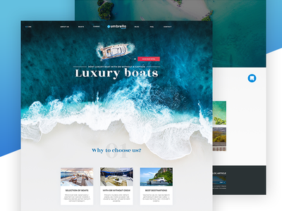 Umbrella Web Re-Design landing page yachts sea water boats luxury webdesign
