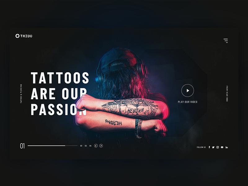 Tattoo Studio - Landing Page Concept dark tattoo website web ux ui page landing studio design