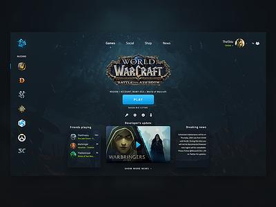 Battle.net - Redesign Concept debut app battlenet net battle ui warcraft diablo gaming game dark blizzard